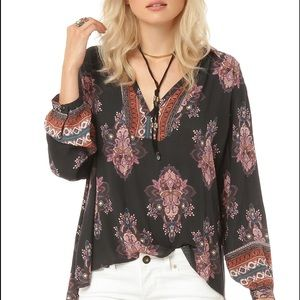 NWT O'neill Tawny Top Charcoal Pink Flowers Surf M